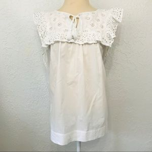 Loft White Eyelet Lace Ruffle Sleeveless Top D1